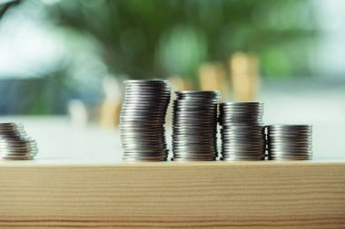 stacks of coins on table