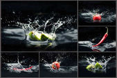 fruits and vegetables falling in water