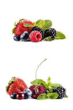 collage with delicious berries