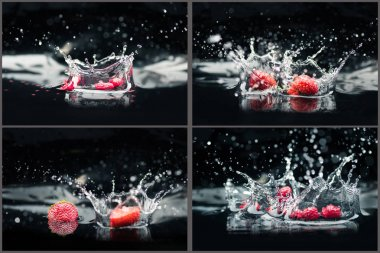raspberries and strawberries falling in water