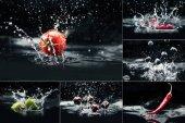 Fotografie Produkte fallen in Wasser mit Spritzern