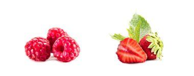 piles of raspberries and strawberries