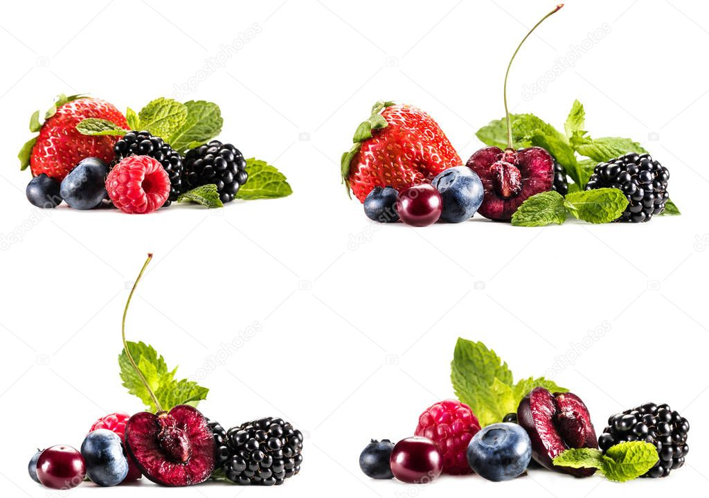 Collage with piles of various berries