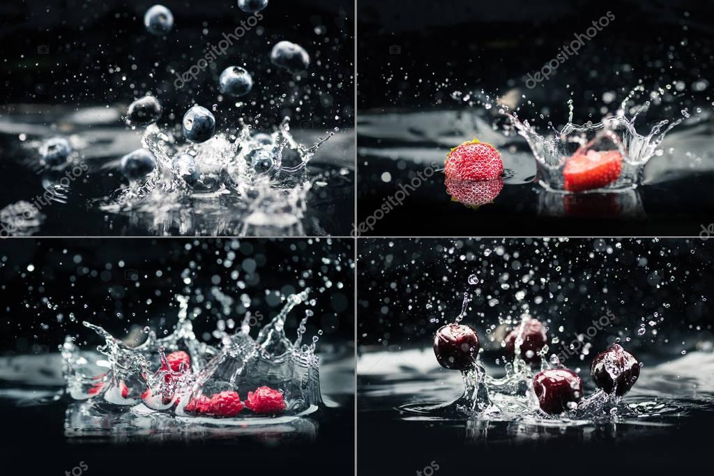 various berries falling in water
