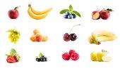 koláž s různými čerstvé ovoce a bobuloviny