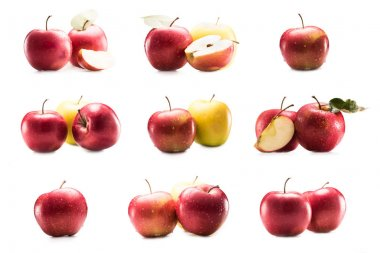 collage with fresh ripe apples