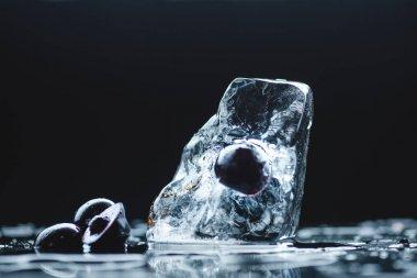 ripe cherry with ice cube