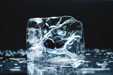 frozen berries in ice cube