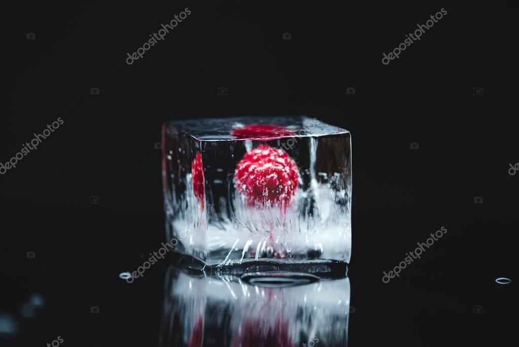 raspberry frozen in ice cube