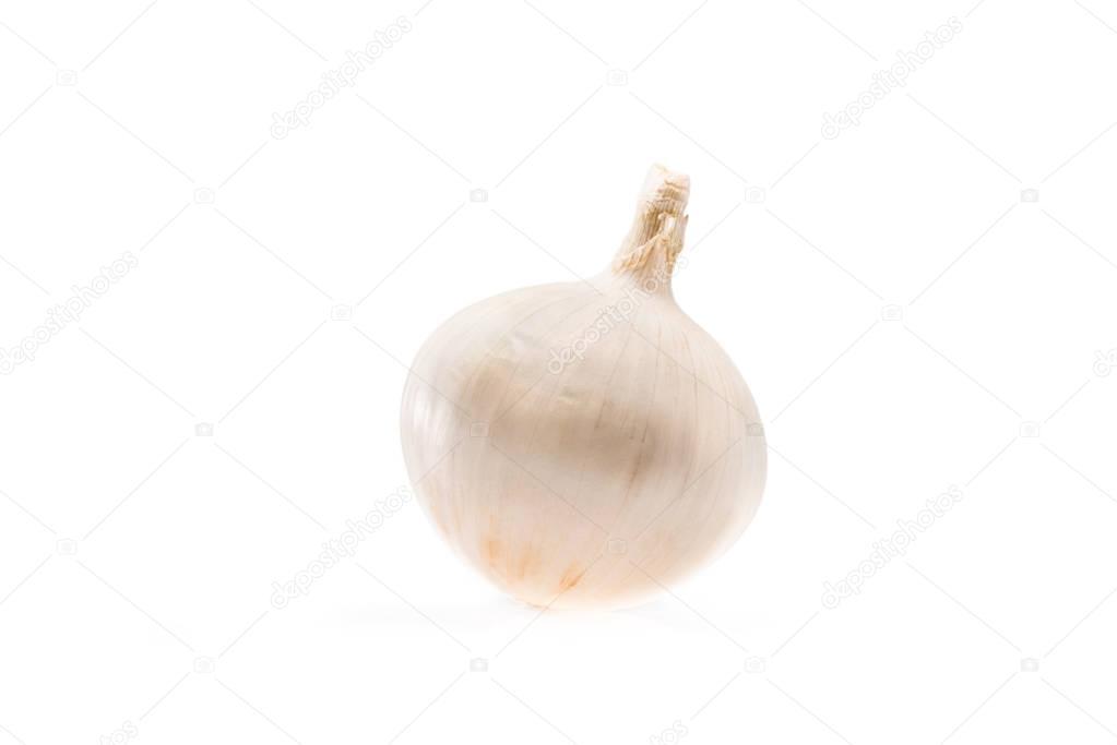 ripe white unpeeled onion