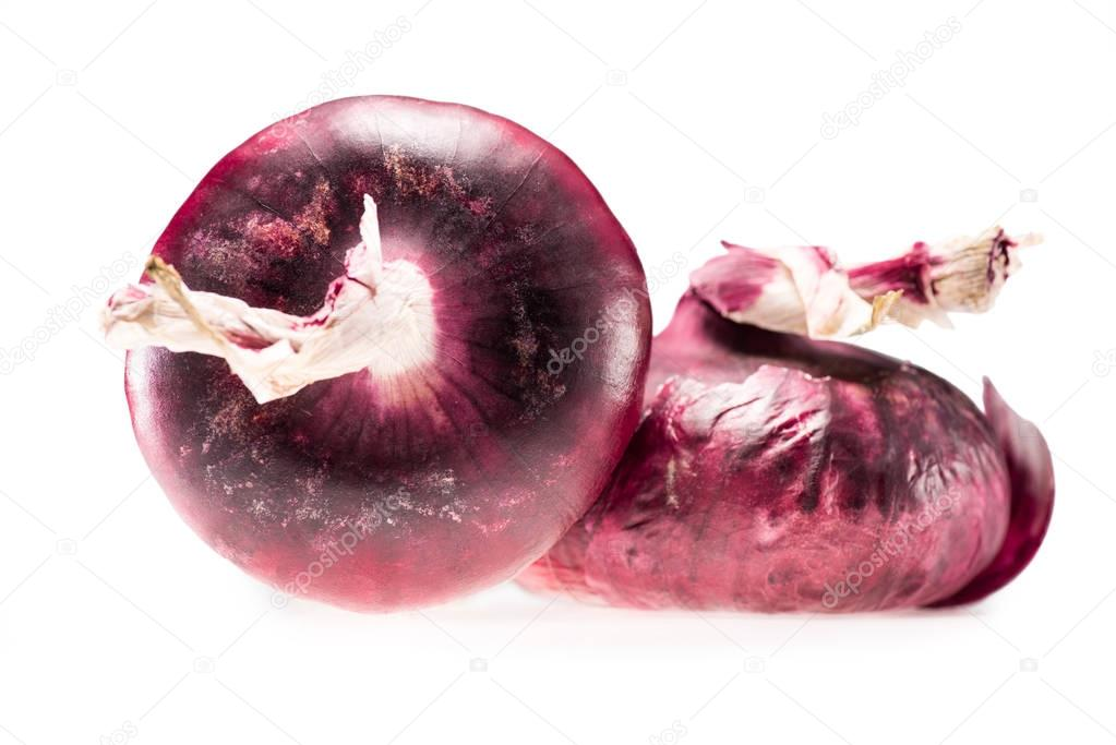 two fresh ripe red onions