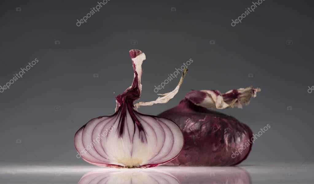halves of ripe red onion
