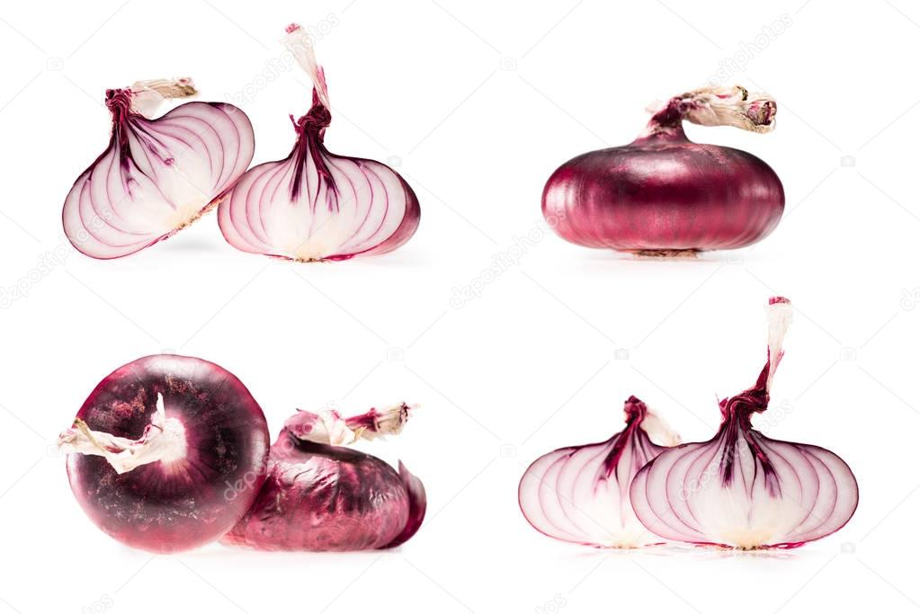 collage of fresh ripe onion and halves