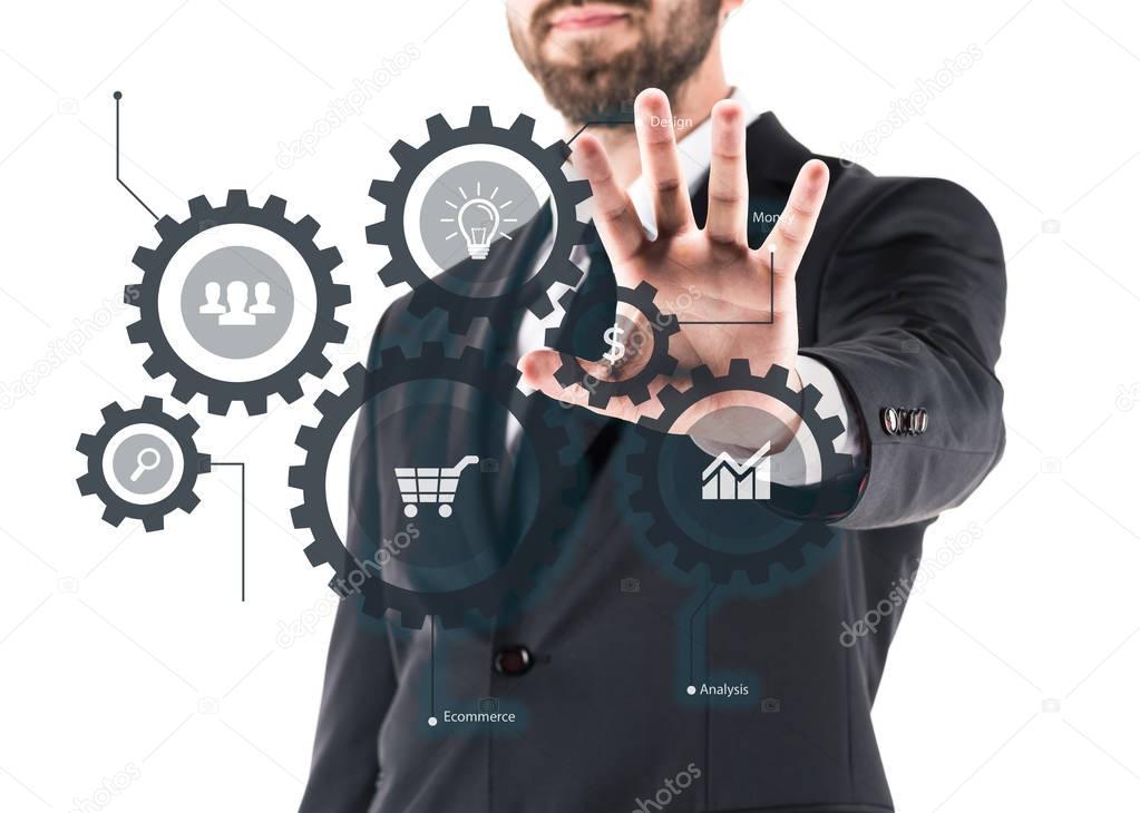 businessman showing virtual scheme