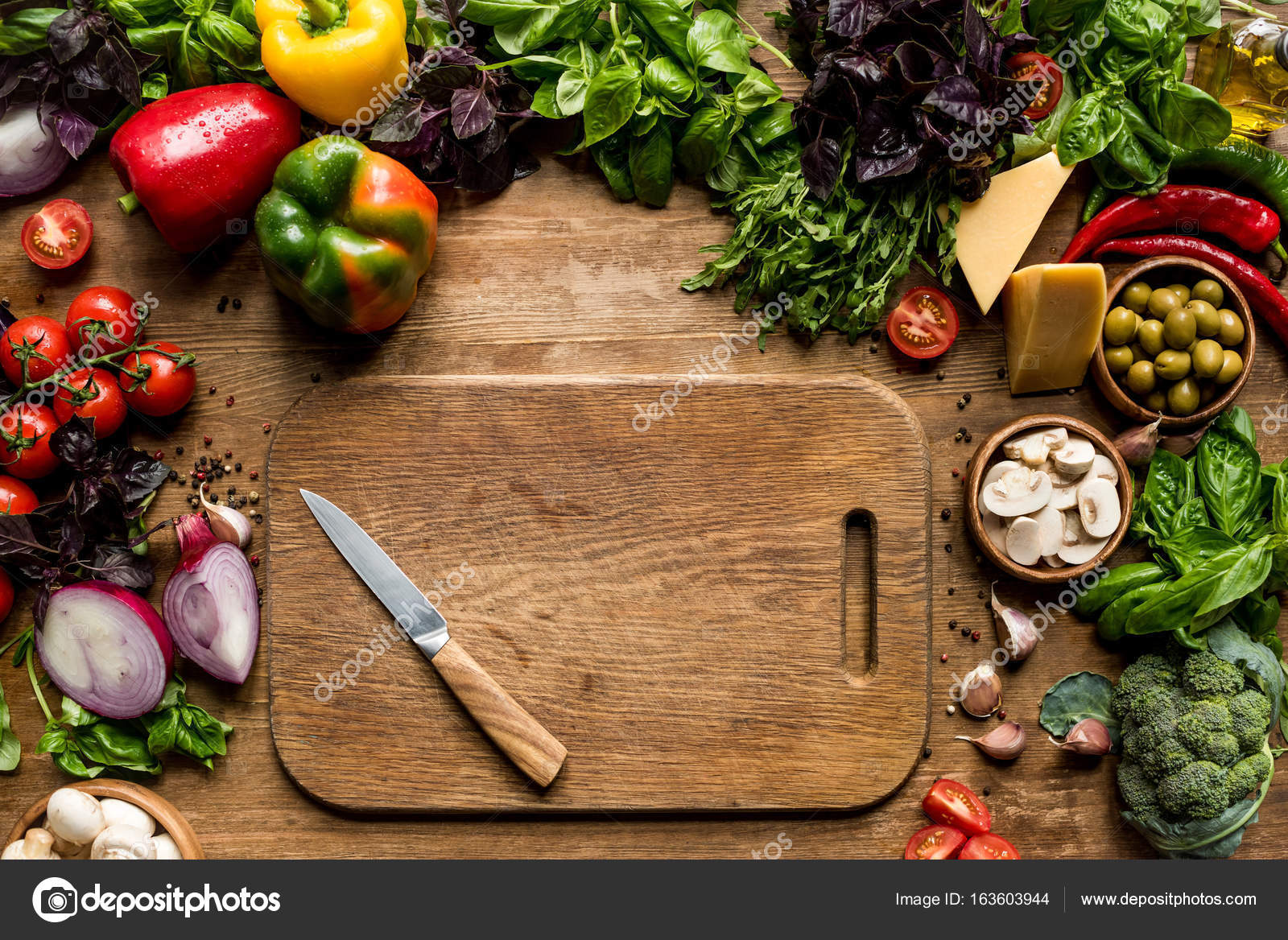 Cutting Board, Vegetables And Herbs U2014 Stock Photo