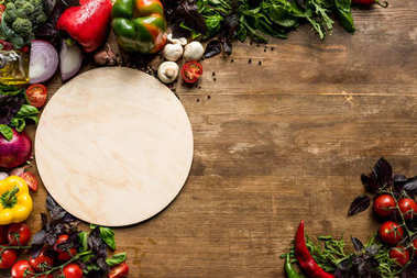 wooden board and ingredients