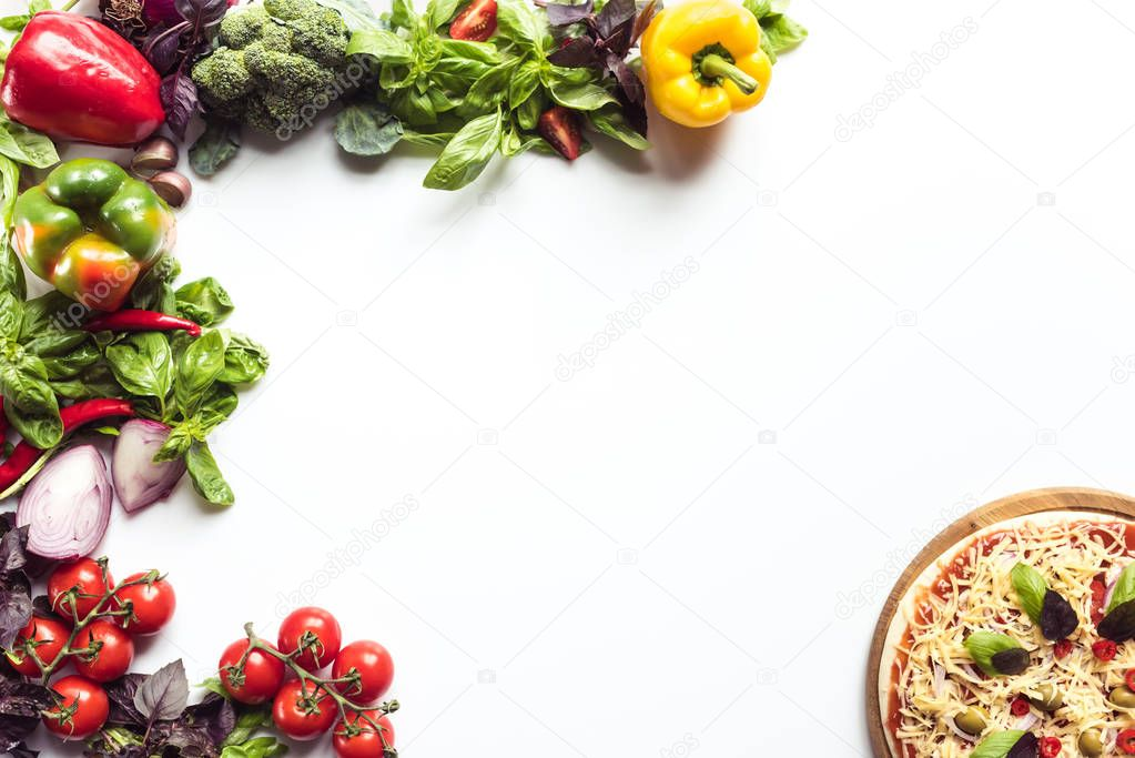 italian pizza and fresh vegetables