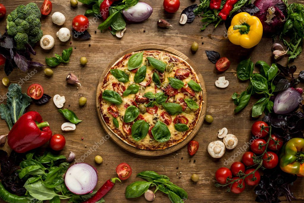 pizza with fresh herbs