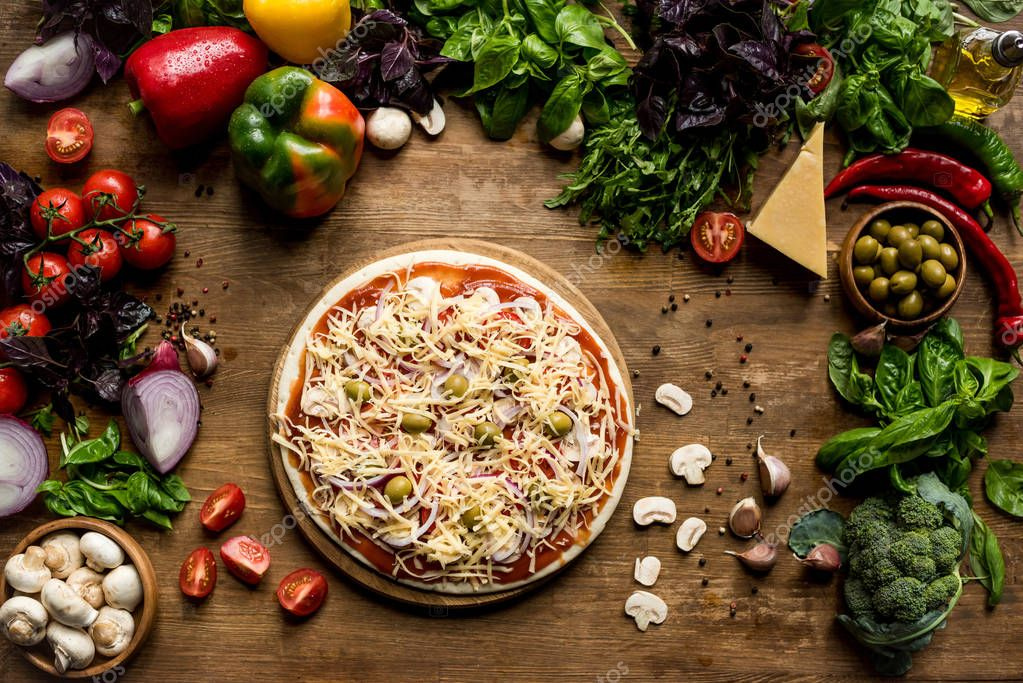 homemade pizza with fresh ingredients