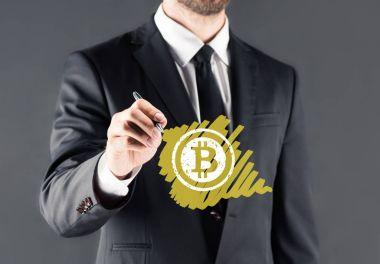 businessman drawing bitcoin sign