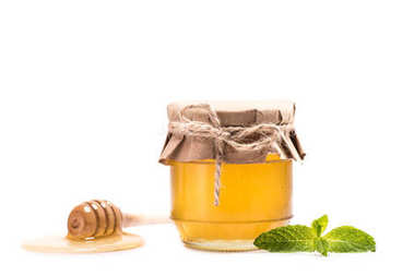 fresh honey in glass jar