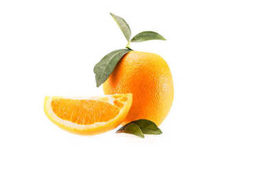 Fresh juicy orange with leaves, isolated on white stock vector