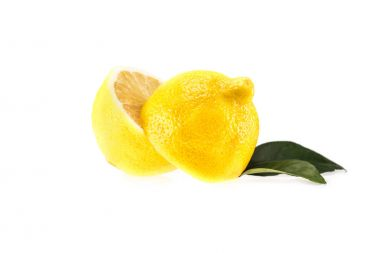 Yellow halved lemon with leaves, isolated on white stock vector