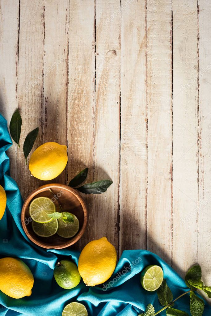 citrus fruits with tablecloth