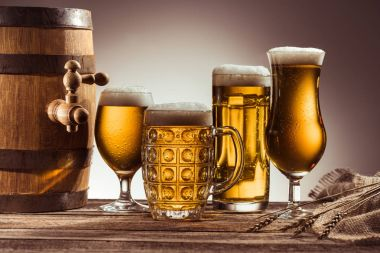 assortment of beer in glasses