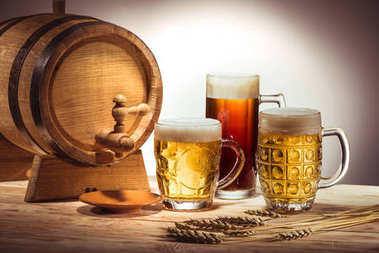barrel and different beer