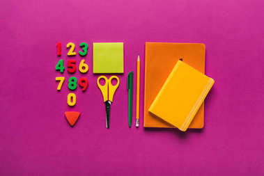 Composition of colorful school supplies with plastic numbers stock vector