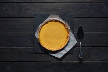 pumpkin pie on parchment paper