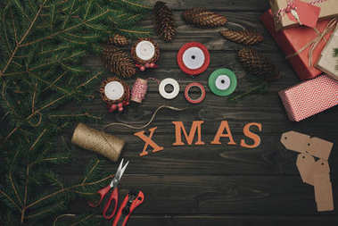 Christmas composition with decorations