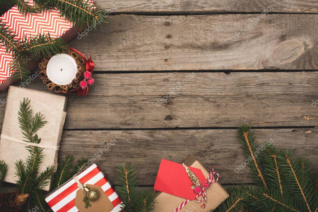 frame of christmas gifts