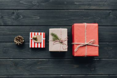 christmas gifts in row in table