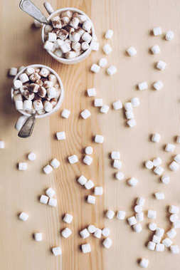 cups of cacao with marshmallow