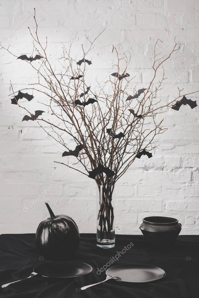 halloween decorations on table