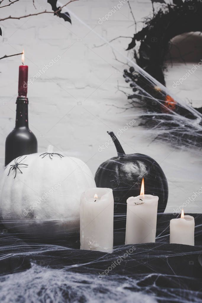 candles and halloween decorations