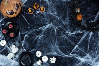 halloween decorations and cobweb