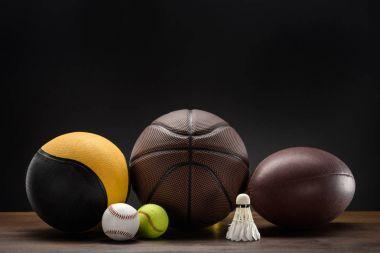 sports balls and shuttlecock