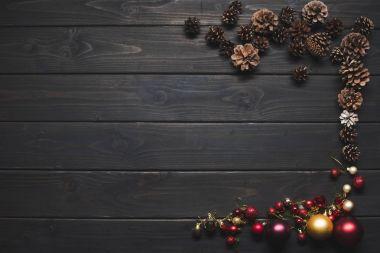 pine cones and christmas balls