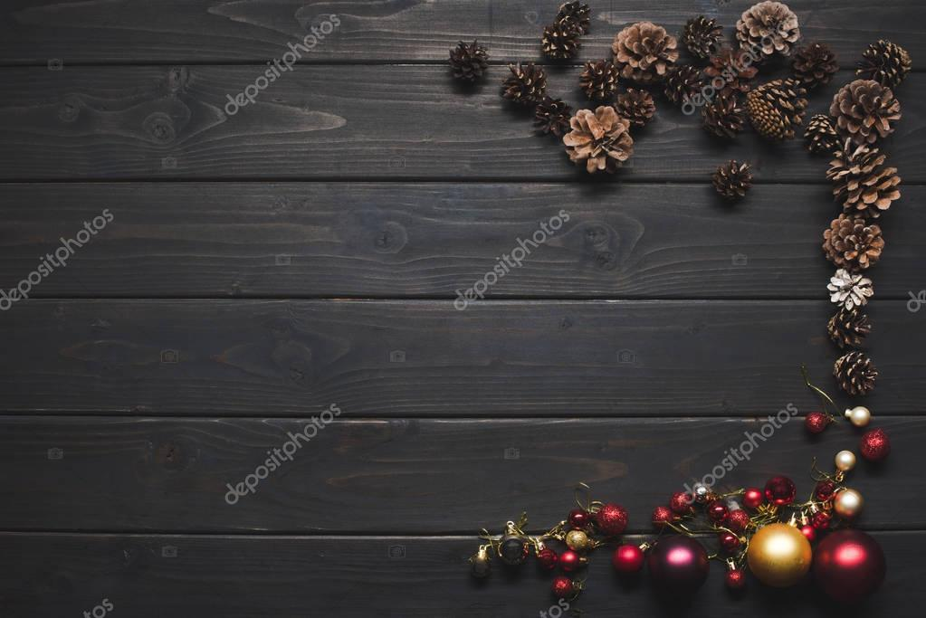 pine cones and christmas balls