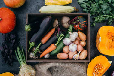 ripe vegetables in box