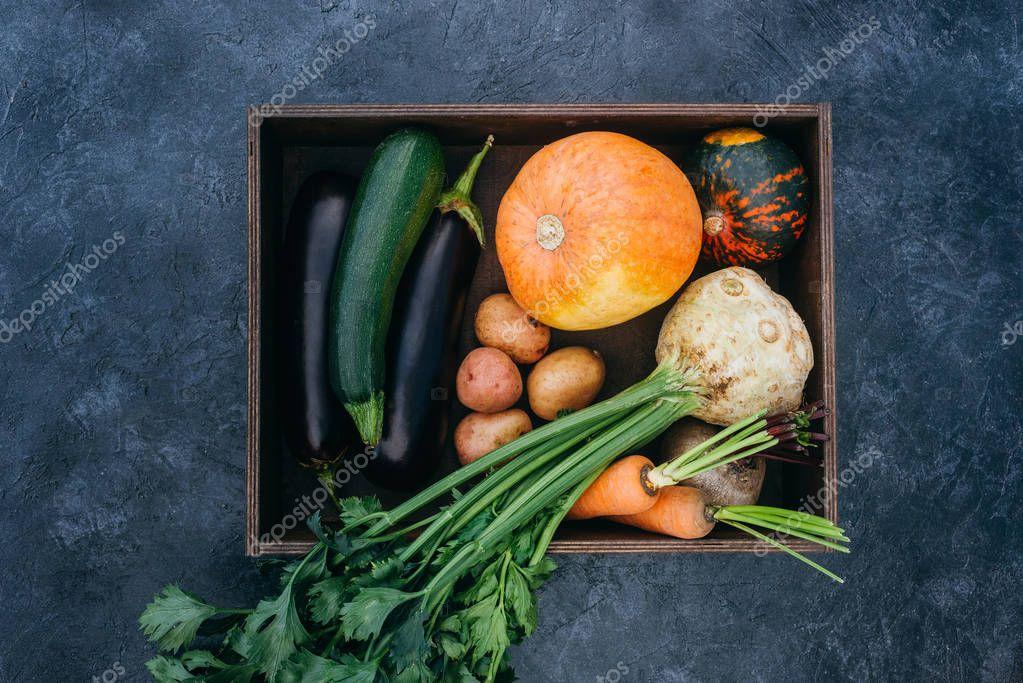 ripe vegetables in box