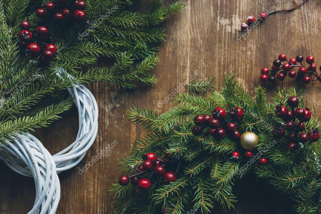 Christmas wreaths with fir