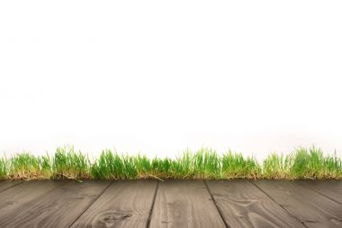 Full frame of wooden planks and grass background stock vector