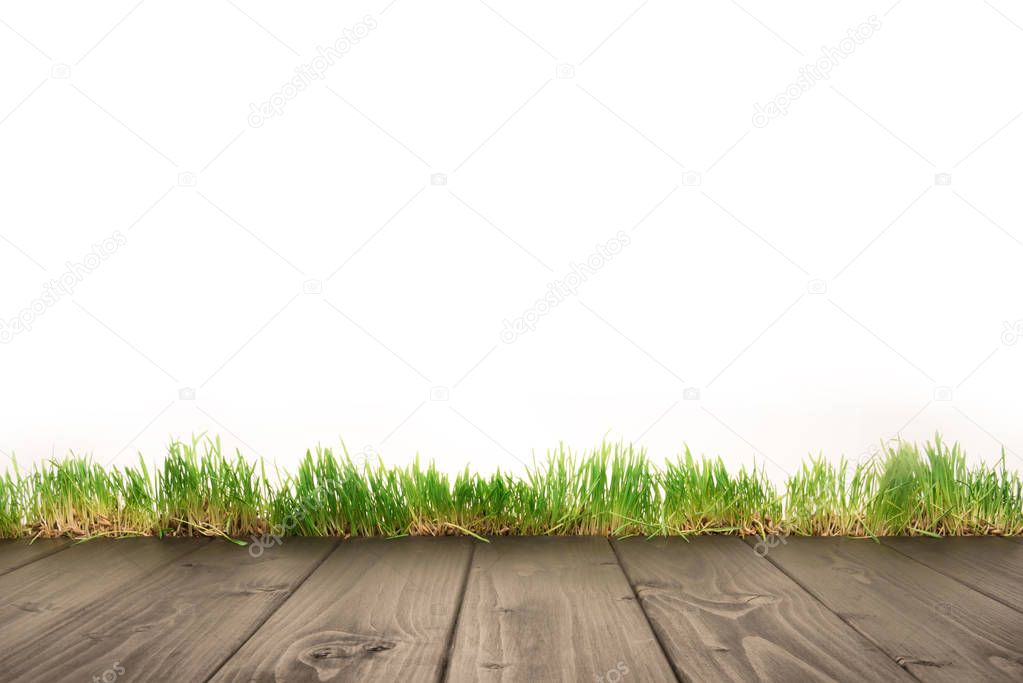 wooden planks and grass