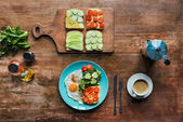 Photo healthy breakfast and cup of coffee