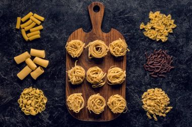 composition of various raw pasta