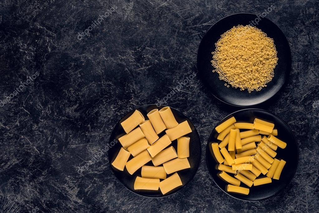 various pasta in bowls